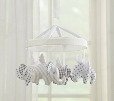 Pottery Barn Baby Nursery Mobile Flying Elephant Gray White Polka Dot Checked