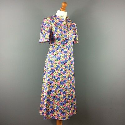 Vintage 60s 70s Purple Yellow Green Pink Floral Print Tea Day Dress 12