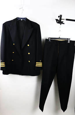 Vintage S.W. Rice Black 2-PC Military Suit Double-Breasted Blazer & Pants