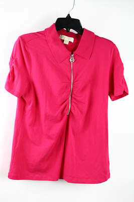MICHAEL Michael Kors Hot Pink Short Sleeve 3/4 Zip Collared Casual Top XL