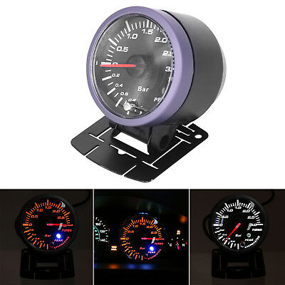 "12v 2.5"" 60mm Auto Car LED Turbo Boost Vacuum Press Pressure Gauge Bar Meter kit"