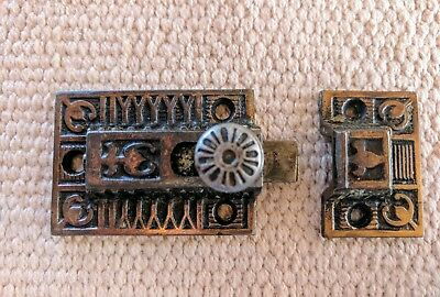 Antique Vintage Copper Cabinet Door Spring Latch with Catch