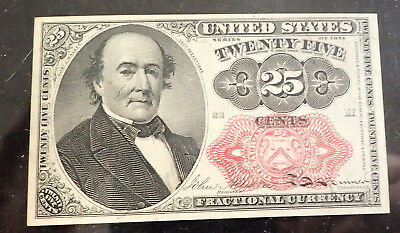 25C Fractional Currency Au- Unc , 5Th Issue, Red Seal, Long Key