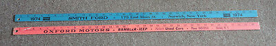 Oxford NY Rambler Jeep & Norwich Smith Ford 1974 Advertising Wooden Yardsticks