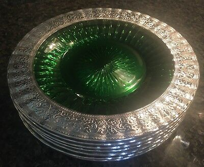 Magnificent Set - Green Sterling Silver Overlay Large Platter & Seven Plates