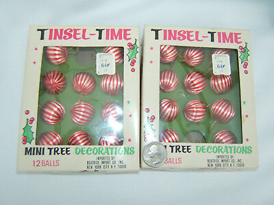 Lot Of Vintage Miniature Satin Feather Tree Christmas Ornaments 22 in orig. box