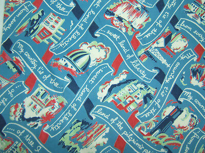 """Vintage Patriotic Silk Scarf  """"My Country Tis of Thee"""" by Shirley Crosby 18.5x21"""