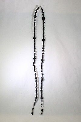 """Beautiful Detailed Black Faceted Resin Beads Eye Glass Chain Holder 25"""""""