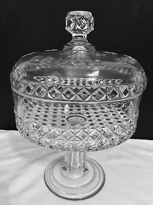 Vintage Drug Store W&S Cough Drop Covered Glass Pedestal Bowl
