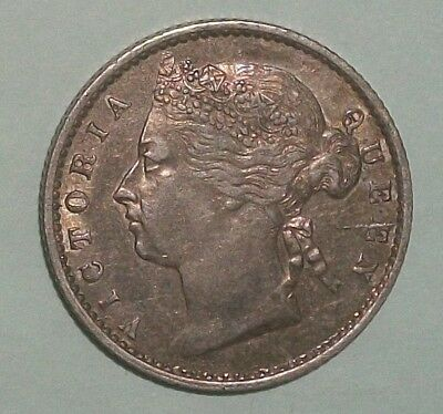 1871 Straits Settlements 10 Cent high grade with luster