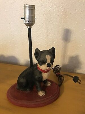 Vintage Boston Terrier Dog Table Lamp