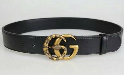 Gucci Belt Double G with Snake Designer Leather Black Good Quality Brass Buckle