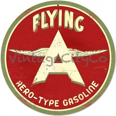 "Antique Style "" Flying A Aero - Type Gasoline Logo "" Garage Oil Round Metal Sign"