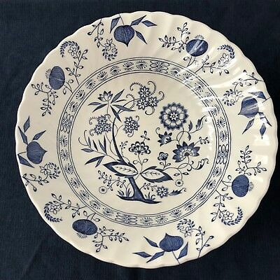 "Johnson Brothers Blue Nordic Round Vegetable Bowl 8"" Vintage England Blue Onion"