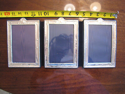 Sterling Silver picture frame tri-fold embossed 5x7 (x3) british hallmarks