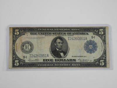 1914 $ 5 Dollar Federal Reserve Note F-879A