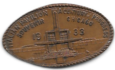 Italian Pavilion, 1933 elongated cent, A Century of Progress Chicago ILL-CPIE-33