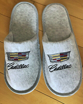 """CADILLAC SLIPPERS w/LOGO GREY from 2018 Chicago. AUTO SHOW - 1 SIZE 10 1/2"""" LONG"""