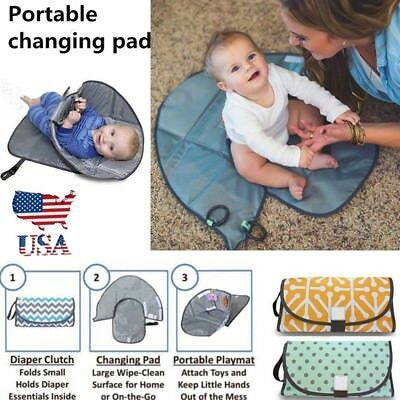 Clean Hands Changing Pad Portable Baby 3in1 Cover Mat Folding Diaper Bag Kit USA