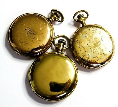 Bulk Lot - 170G - 3 - 16S Pocket Watch Hunters Cases - Gold Filled - Scrap (B6)