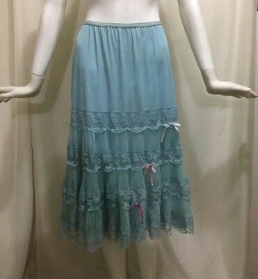 Vintage 50's Blue Tricot Nylon Tiered Crystal Pleats And Lace Double Slip Bows M