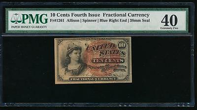 AC Fr 1261 $0.10 1869 fractional 4th issue PMG 40 small red seal