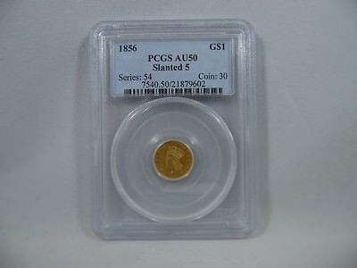 1856 One Dollar Gold Coin PCGS AU50 Slanted 5