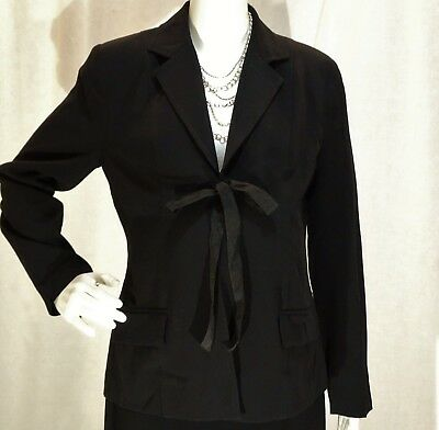 Motherhood~Ec!!~Black Career Blazer W/tie Closure Full Term Washable-Sz:m