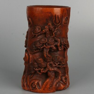 Chinese exquisite bamboo hand-carved pine Pen holder