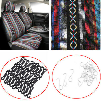 2 Sets Of Car Seat Cover Protector Colorful Linen Stripes+Hooks For SUV,Truck