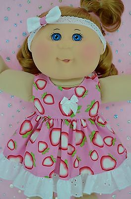 """Play n Wear Doll Clothes For 14"""" Cabbage Patch STRAWBERRY PATTERN DRESS~HEADBAND"""