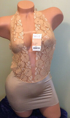 exotic pole dancer lingerie gold lace sheer dress small Siloe sexy stripper wear