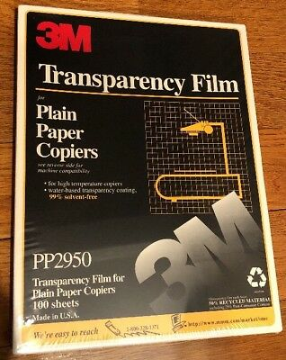 "New 3M Transparency Film For Copiers PP2950 100 Sheets 8.5"" x 11"" Sealed Box"