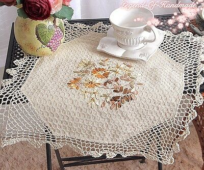 "TWO Hand Crochet Lace Ribbon Floral Table Topper/Doily~15""~Ecru~Cottage Teatime~"