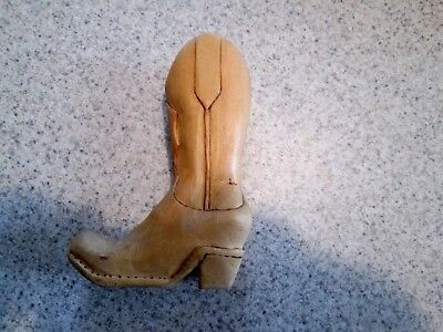 Hand Carved Cowboy Boot Signed and Dated