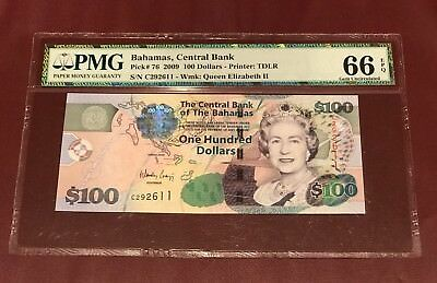 CENTRAL BANK OF BAHAMAS 100 DOLLARS 2009 PMG 66 GEM UNC Pick 76 QUEEN ELIZABETH