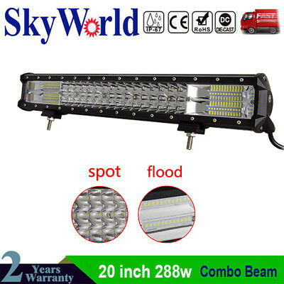 7D Tri-Row 20 inch 288W LED Work Light Bar Spot Flood Combo FOR JEEP Offroad 126