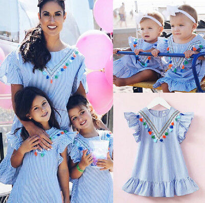 UK Stock Toddler Kids Girl Retro Striped Ruffle Dress Party Clothes Summer 1-6Y