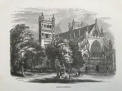 1848 Antique Print; Exeter Cathedral, Devon after James Thorne