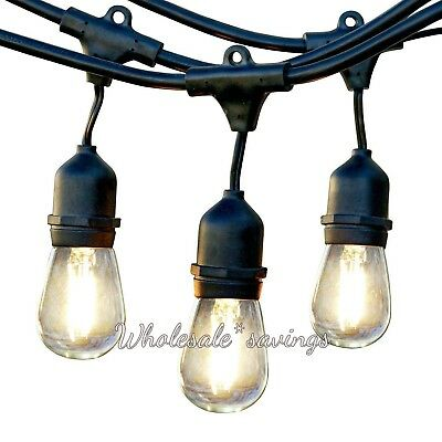 Ambiance Pro Commercial Grade Outdoor Light Strand Hanging Sockets 1W LED 24 Ft