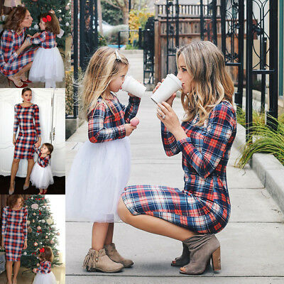 US STOCK Mother and Daughter Stripe Dress Matching Women Kid Girl Family Clothes