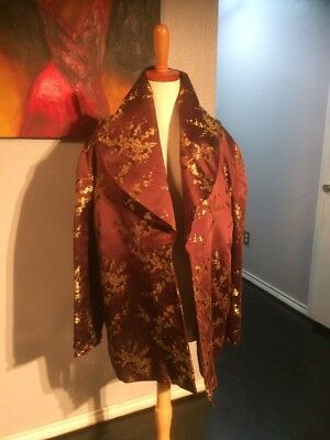 Vintage Brown and Gold Sateen Opera Coat Size Medium Unbranded