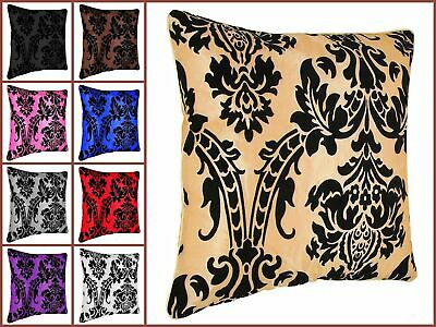 "Luxury Damask Polyester Microfiber Flock Cushion Covers 18""x18"" Pack Of 4"