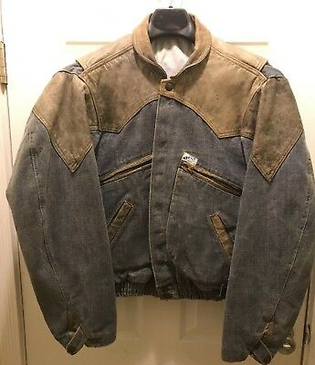 Vintage 80's Guess Jeans Denim Leather Georges Marciano Jacket Small