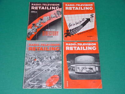 1948 Radio and Television Retailing Magazines, 4 Issues, Great Vintage TV Ads!