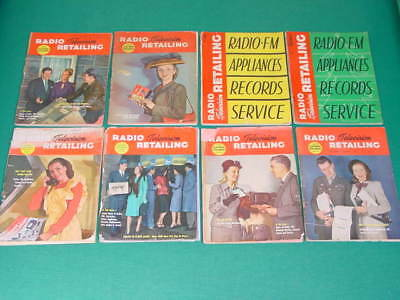 1946 Radio and Television Retailing Magazines, 8 Issues, Great Vintage TV Ads!