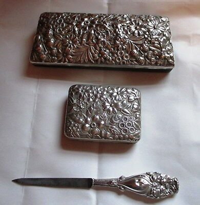 3  Piece Gorham Sterling Silver  Set Eyeglass Case- Key Holder-Letter Opener
