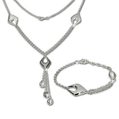 SilberDream Bijoux Set - Collier et bracelet Drop - Argent Sterling 925/1000 pou