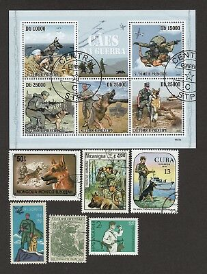 ON SALE!!  GERMAN SHEPHERD Military Dogs ** Unique Int'l Dog Stamp Collection*