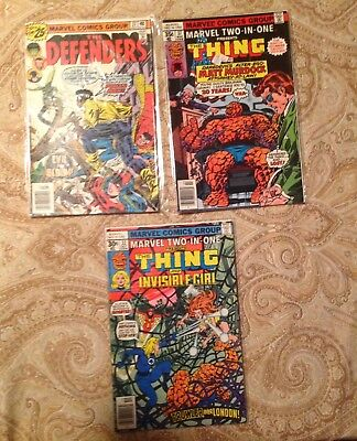 3 Vintage Marvel Comic Books, Defenders, Thing/Daredevil, Thing/Invisible Girl